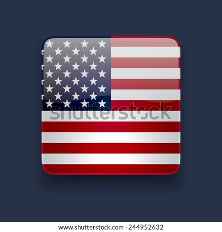 Square glossy high quality icon with national flag of the USA on dark blue background - stock vector