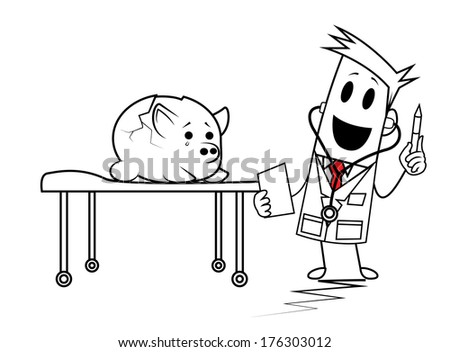 Square Guy - Doctor Square heals to Saving - stock vector