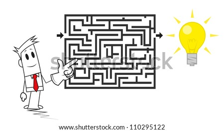 Square guy-Find the idea - stock vector