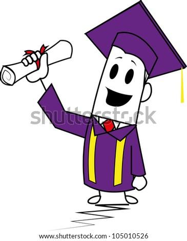 Square guy-Graduation - stock vector