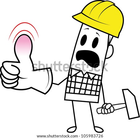 Square guy-occupational accident - stock vector