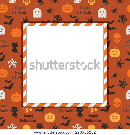 square halloween frame on seamless pattern background, with clipping path and transparencies - stock vector