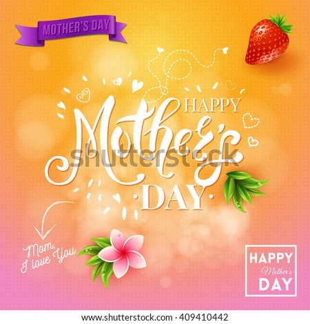 Square happy a day mom I love you design with strawberry, flying hearts, banner and plants over orange and pink background - stock vector