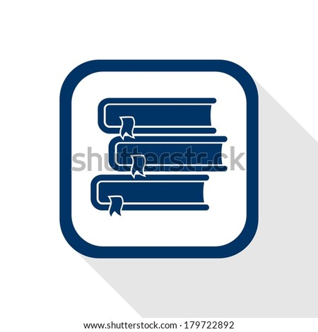 square icon books with long shadow - stock vector
