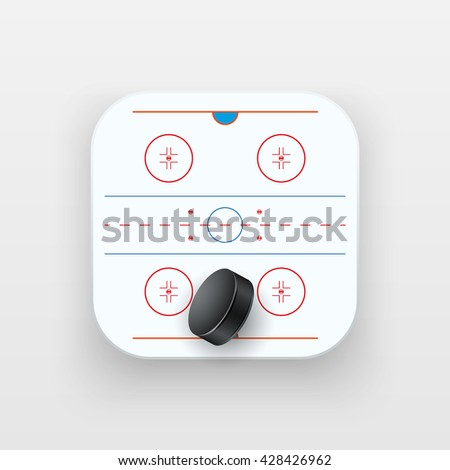 Square icon of ice hockey sport. Sporting field and ball. Vector Illustration isolated on background. - stock vector