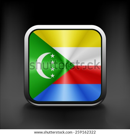 Square icon with flag of Comoros country nationality - stock vector