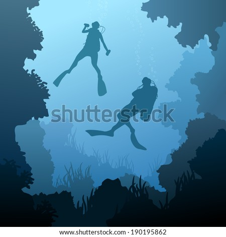 Square illustration of scuba divers under water among coral in cave. - stock vector