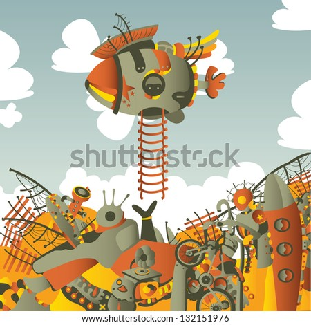 square illustration with dirigible - stock vector