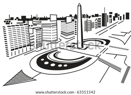 Square in city. Square in abstract city, top view. Black and white, silhouette, graphic vector illustration. - stock vector