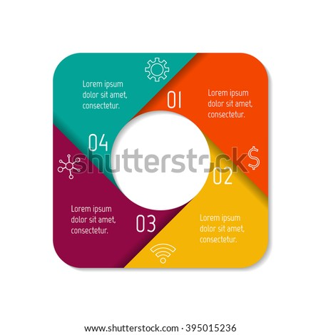 Square infographic banner with folded parts and 4 options. Isolated number banner template for diagram, presentation or chart. Progress steps for tutorial. Business concept sequence banner. - stock vector
