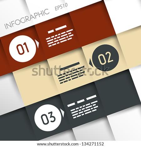 square inforgraphic three oblique options. infographic concept. - stock vector