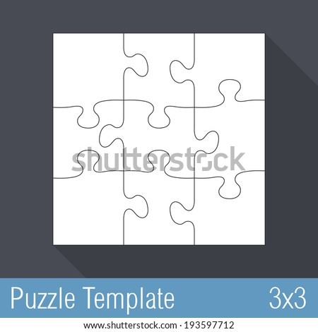 square jigsaw puzzle template 3 x 3 pieces stock vector 193597712