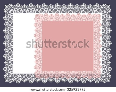 square lace doily - stock vector