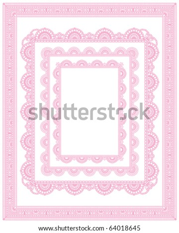square lace frame set - stock vector