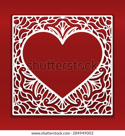 Square lace ornament, ornamental geometric doily pattern with heart shaped empty space for text. Vector illustration greeting, wedding invitation, Valentine's card. Dark red background, EPS 10. - stock vector