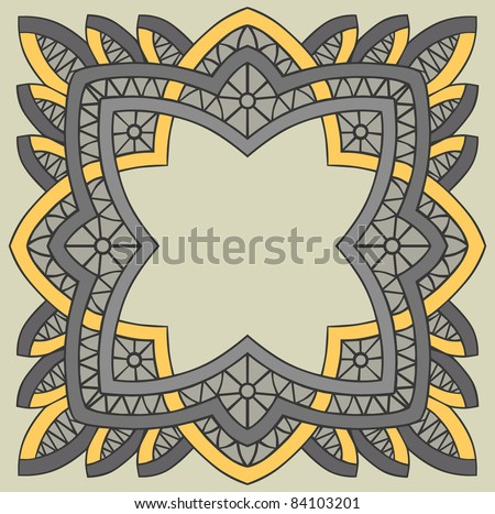 square lace pattern in gray and yellow colors - stock vector