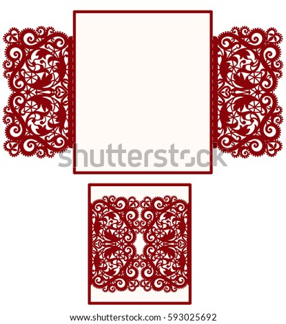 Square Laser Cut Wedding Invitation Template Stock Vector - Laser cut wedding invitation templates