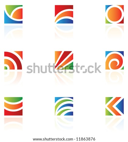 Square logos to go with your company name - stock vector