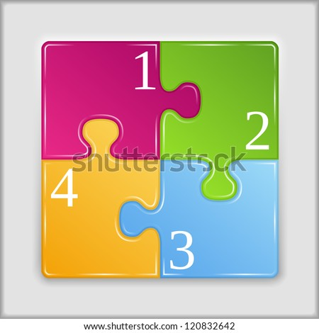 Square made of puzzle pieces with numbers, vector eps10 illustration - stock vector