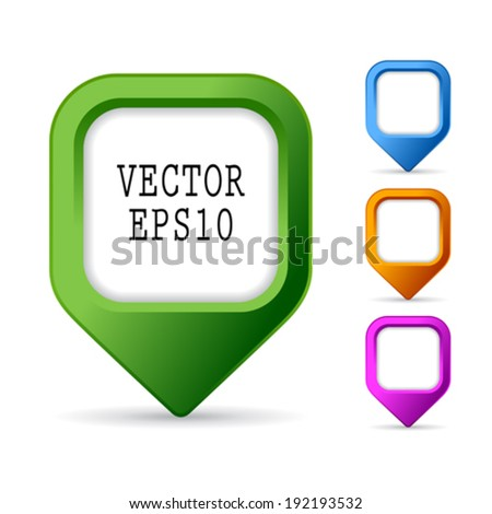 Square map marker - stock vector