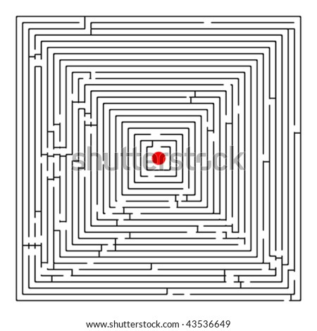 square maze, abstract art illustration - stock vector