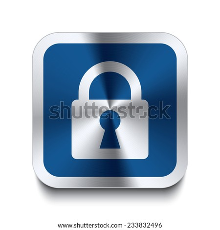 Square metal button with lock icon print on top. Part of a blue metal buttons set. - stock vector