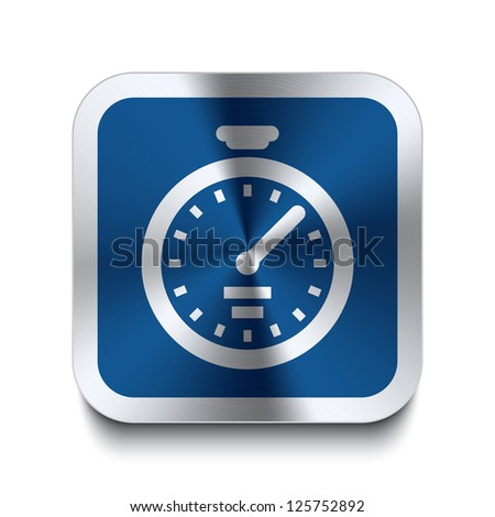 Square metal button with stopwatch icon print on top of it. Part of a collection of blue metal buttons. - stock vector