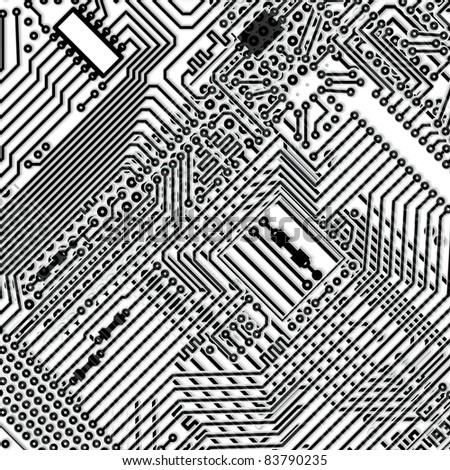 Square monochrome background - design multi-layered electronic circuit board - stock vector