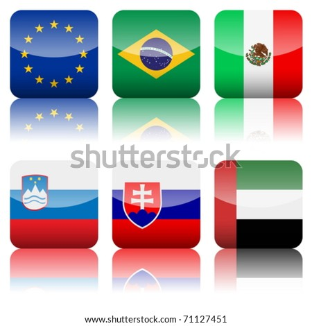 Square national flag set on a white background. Vector illustration. - stock vector