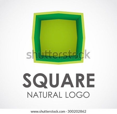 Square natural green abstract vector logo design template bio business icon ecology company identity symbol concept - stock vector