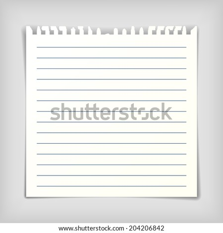 Square note paper sheet, realistic vector illustration - stock vector