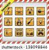 Square orange Danger symbols - stock photo