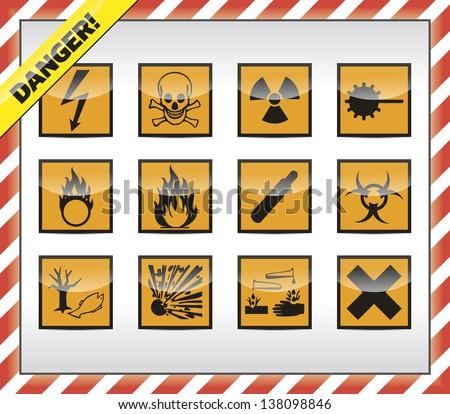 Square orange Danger symbols - stock vector