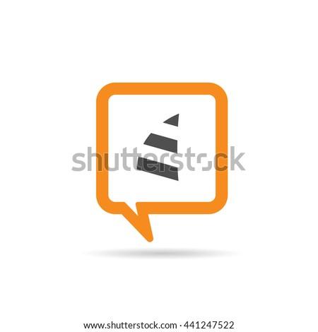 square orange speech bubble with sail icon illustration - stock vector