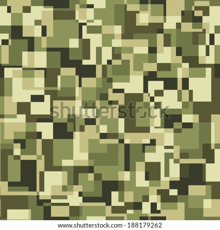 Square pixel seamless pattern. Vector military background - stock vector