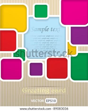 Square postcard vector illustration - stock vector