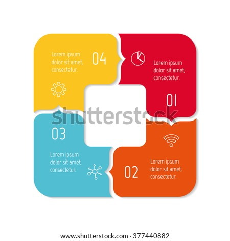 Square progress steps for tutorial. 4 options paper infographic banner. Number banner template for diagram, presentation or chart. Business concept sequence banner. Curved arrow workflow layout. - stock vector