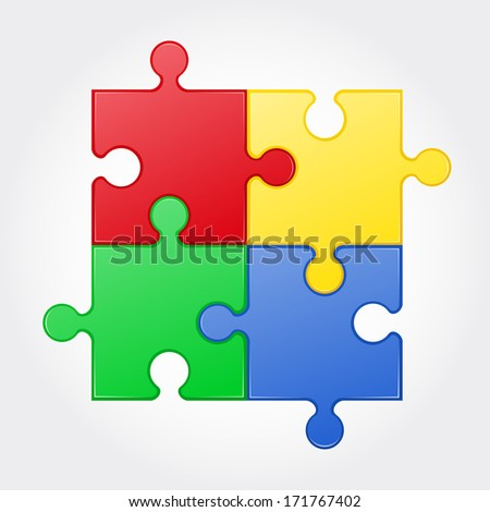 square puzzle vector illustration isolated on white background