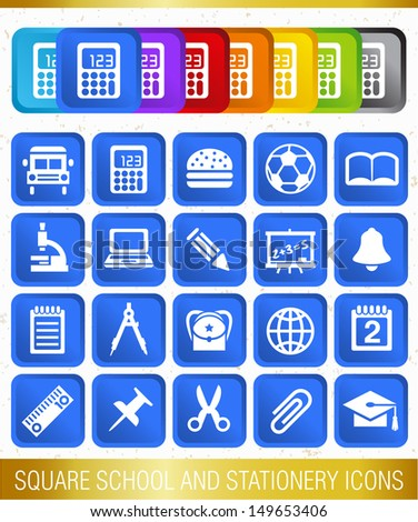 SQUARE SCHOOL AND STATIONERY ICONS
