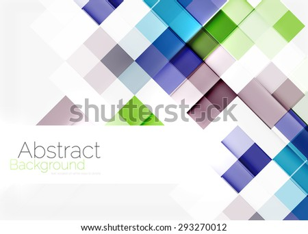 Square shape mosaic pattern design. Universal modern composition. Clean colorful mosaic tile background with copyspace. Abstract background, online presentation website element or mobile app cover  - stock vector