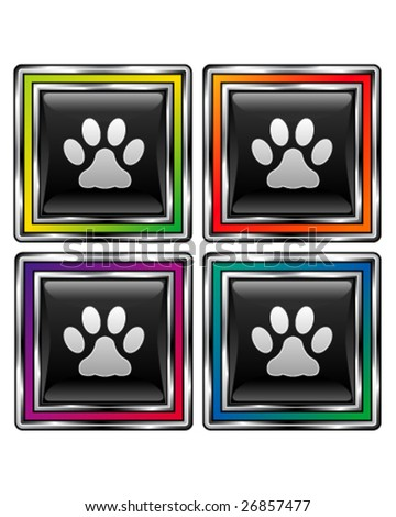 Square shiny vector button with pet paw print icon on black background - stock vector