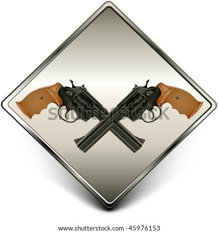 Square sign with two black guns against background, vector illustration