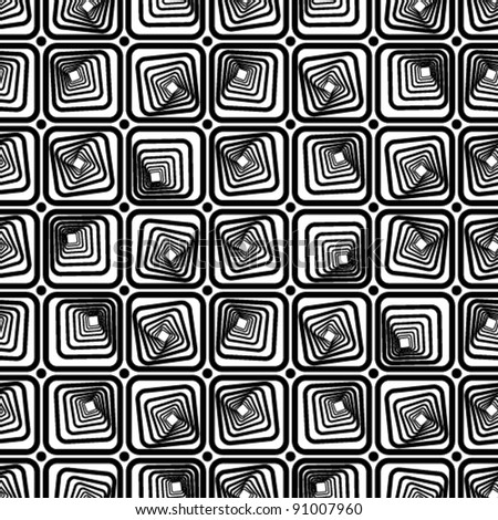 Square tiles seamless pattern, black and white vector background.