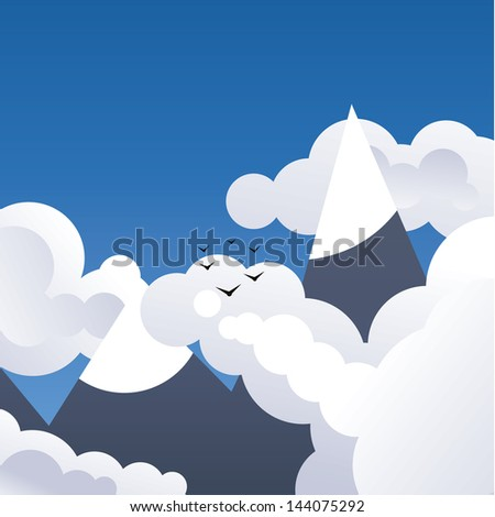 Square vector background. High mountains with clouds and birds. Much space for your content. Concept is freedom, tourism and traveling.