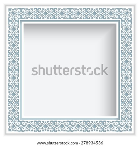 Square vector frame with cutout paper swirls, ornamental lace background, eps10 - stock vector
