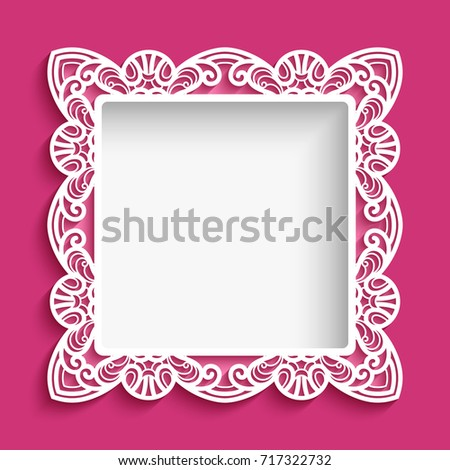 Square Vector Frame With Lace Border Pattern, Cutout Paper Ornament,  Suitable For Laser Cutting