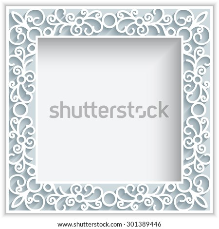 Square vector frame with paper swirls,  ornamental lace background, greeting card or wedding invitation template, eps10 - stock vector
