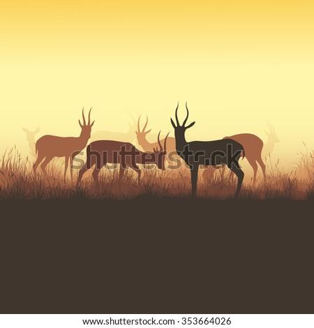 Square vector illustration herd of antelope grazing in meadow. - stock vector