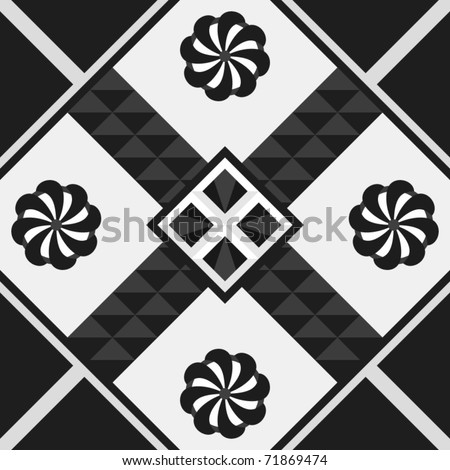 Square Vector Tile With A Monochromatic Motif Stock Vector