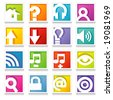 Square Web Icon Series: Simple, colorful icons with shadow - stock vector